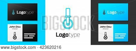 Blue Line Pizza Knife Icon Isolated On White Background. Pizza Cutter Sign. Steel Kitchenware Equipm