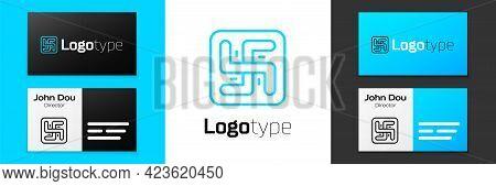 Blue Line Hindu Swastika Religious Symbol Icon Isolated On White Background. Logo Design Template El