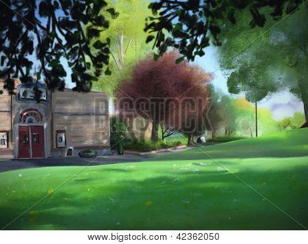 Grüner See Park digitale Malerei
