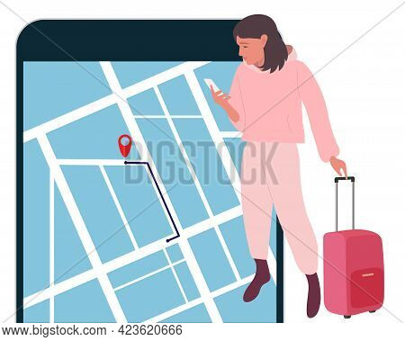 Gps Navigator. Girl With Red Suitcase Looks At Mobile Phone Maps. Finding Right Place In Map. Using