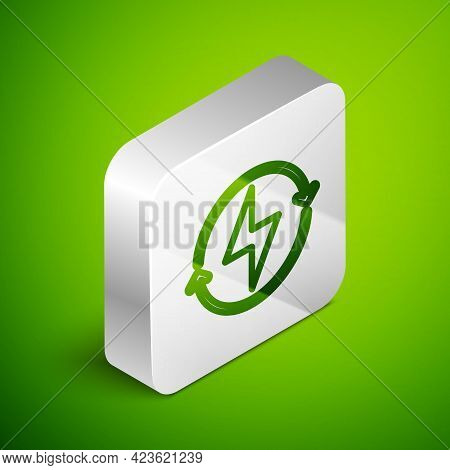 Isometric Line Lightning Bolt Icon Isolated On Green Background. Flash Sign. Charge Flash Icon. Thun