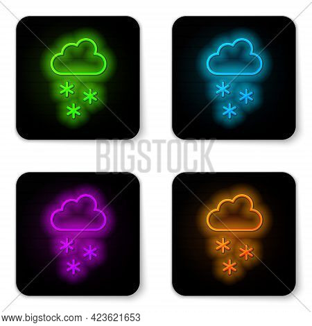 Glowing Neon Line Cloud With Snow Icon Isolated On White Background. Cloud With Snowflakes. Single W