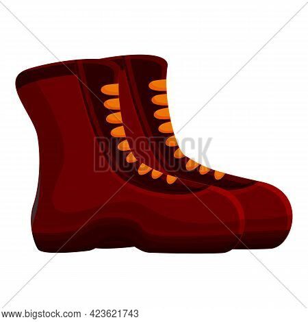 Trekking Boots Icon. Cartoon Of Trekking Boots Vector Icon For Web Design Isolated On White Backgrou