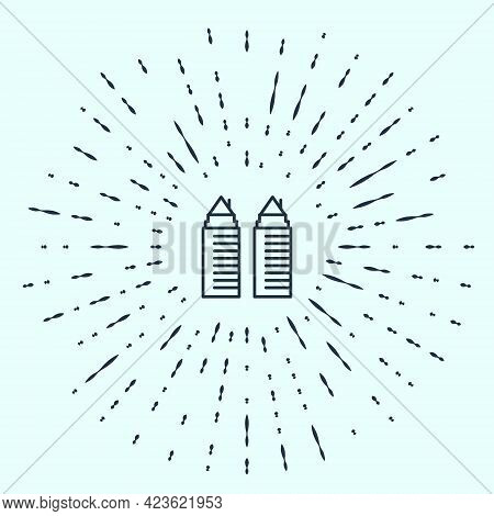 Black Line Two Tall Residential Towers In The Dnipro City Icon Isolated On Grey Background. Abstract