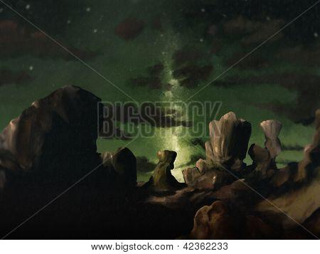 Galaxie digital Landschaftsmalerei