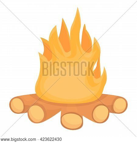 Camping Campfire Icon. Cartoon Of Camping Campfire Vector Icon For Web Design Isolated On White Back