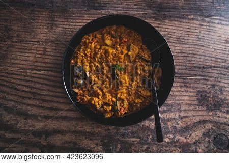 Vegan Eggplant Lentil Curry With Tomato Sauce And Coconut Milk, Healthy Plant-based Food