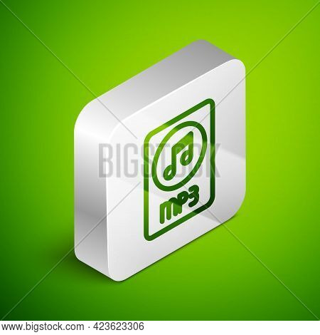 Isometric Line Mp3 File Document. Download Mp3 Button Icon Isolated On Green Background. Mp3 Music F