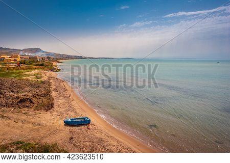 Panorama Of Mediterranean Sea At Licata, Agrigento, Sicily, Italy, Europe