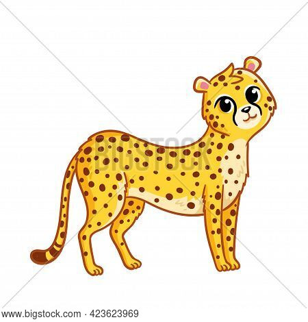 Cute Cheetah Stands On A White Background. Vector Illustration In Cartoon Style