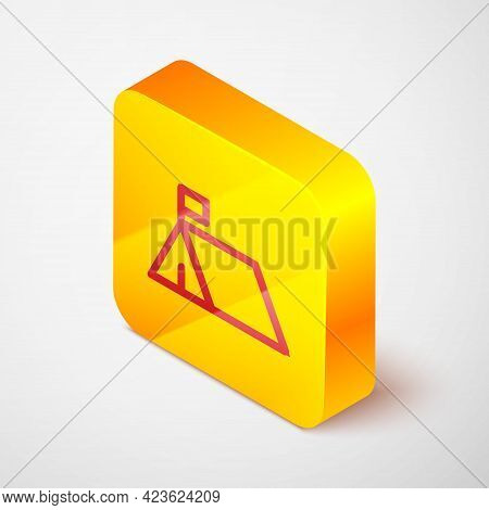 Isometric Line Protest Camp Icon Isolated On Grey Background. Protesting Tent. Yellow Square Button.