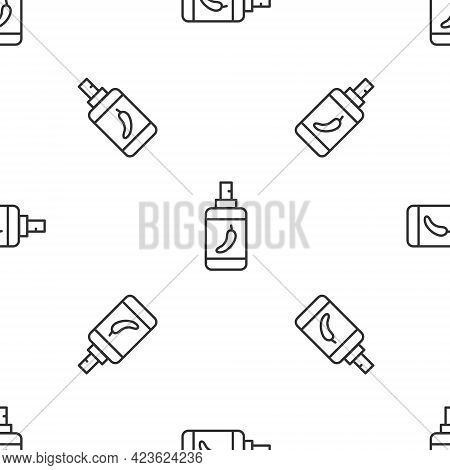Grey Line Pepper Spray Icon Isolated Seamless Pattern On White Background. Oc Gas. Capsicum Self Def