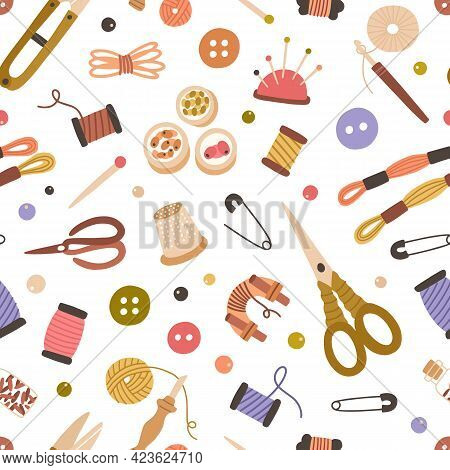 Seamless Handicraft Pattern With Sewing, Embroidery And Knitting Tools On White Background. Endless