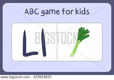 Kid Alphabet Mini Games In Cartoon Style With Letter L - Leek . Vector Illustration For Game Design