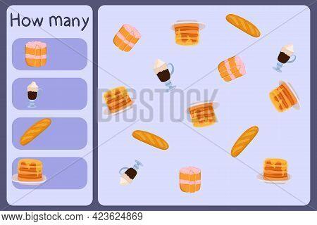 Kids Mathematical Mini Game - Count How Many Foods - Cake, Coffee, Baguette, Pancake. Educational Ga