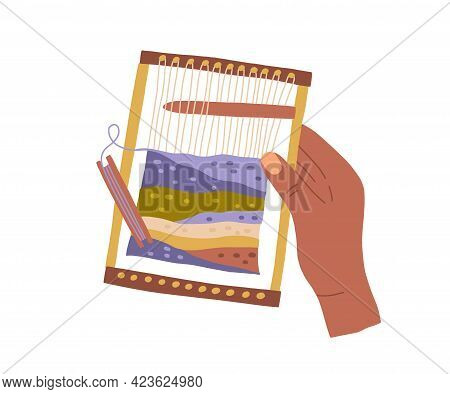Modern Weaving Loom In Women Hand With Tool And Yarn. Traditional Handwork. Handcraft Process. Makin
