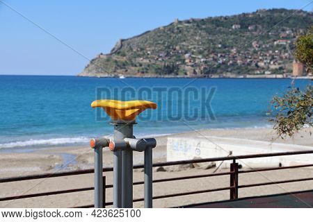 Sports Simulator On The Alanya Embankment Against The Backdrop Of The Sea And Mountains, June, 2021