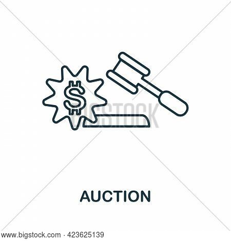 Auction Line Icon. Simple Outline Illustration From E-commerce Collection. Creative Auction Icon For