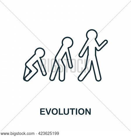 Evolution Line Icon. Creative Outline Design From Artificial Intelligence Icons Collection. Thin Evo