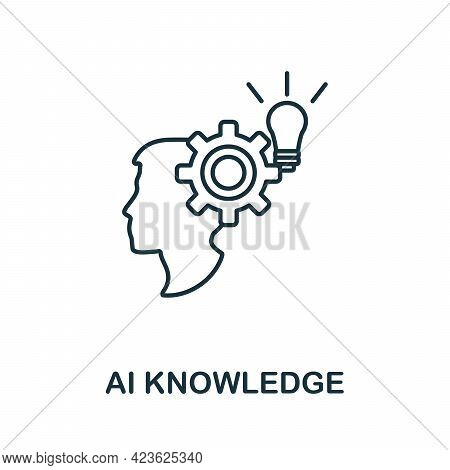 Ai Knowledge Line Icon. Creative Outline Design From Artificial Intelligence Icons Collection. Thin