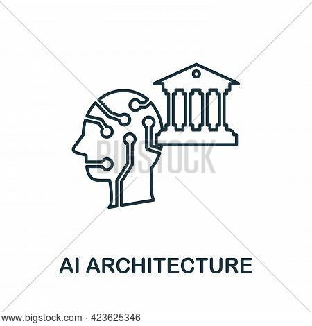 Ai Architecture Line Icon. Creative Outline Design From Artificial Intelligence Icons Collection. Th