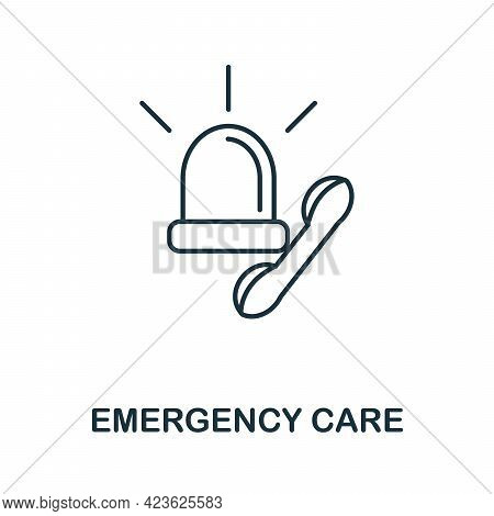 Emergency Care Line Icon. Thin Style Element From Medicine Icons Collection. Outline Emergency Care