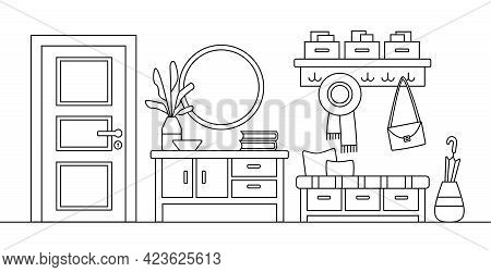 Line Sketch Of Hall Interior. Cozy Home Hallway With Door, Mirror And Modern Furniture. House Entran