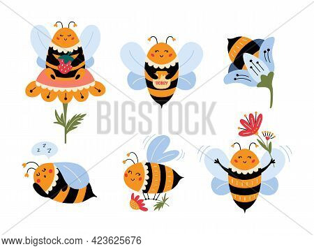 Flying Bee Cartoon Set Cute Bumblebee Character