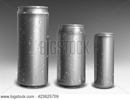 Aluminum Cans With Water Drops Isolated On Gray Background. Metal Drink Bottles For Energy Drink, So