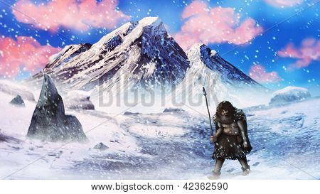 ice age neanderthal hunter in a snow storm - digital painting