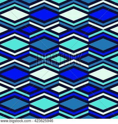 Navajo Mosaic Rug With Traditional Folk Geometric Pattern.