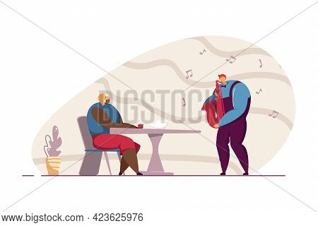 Waiter Playing Saxophone For Female Customer. Man Playing Musical Instrument At Restaurant Flat Vect