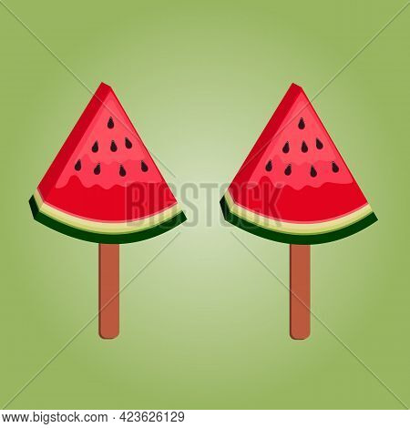 Illustration Of Two Ice Cream On A Stick In Red Ripe Watermelon Slices In The Shape Of A Triangle On