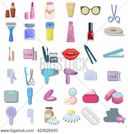 Beautyvector Clip Art Set With Make Up Brush Lipstick Perfume