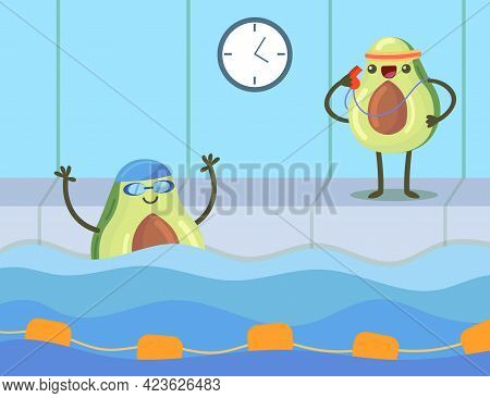 Cartoon Swimming Couch And Swimmer Avocados Characters In Pool. Cute Fruit Exercising, Doing Sport.