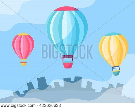 Colorful Hot Air-balloons In Sky Cartoon Illustration. Aerostats Hovering In Sky At Daytime. City In