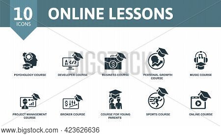 Online Lessons Icon Set. Contains Editable Icons Online Course Theme Such As Psychology Course, Busi