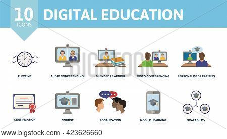 Digital Education Icon Set. Contains Editable Icons Online Education Theme Such As Flextime, Blended