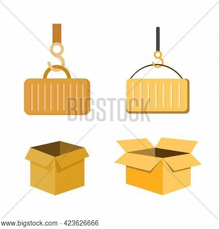 Delivering Vector Clip Art Set With Open Box, Delivering Container