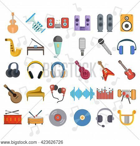 Music Vector Clip Art Set With Musical Instruments, Guitar, Drums, Musical Notes, Headphones, Microp