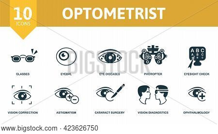 Optometrist Icon Set. Contains Editable Icons Ophthalmology Theme Such As Glasses, Eye Diseases, Eye