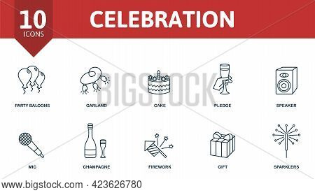 Celebration Icon Set. Contains Editable Icons Party Theme Such As Party Balloons, Cake, Speaker And