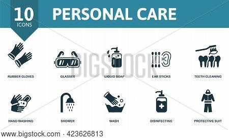 Personal Care Icon Set. Contains Editable Icons Personal Hygiene Theme Such As Rubber Gloves, Liquid