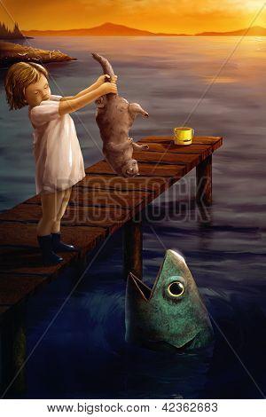kleines Mädchen Fütterung eine Katze, ein Fisch surreal digitale Kunst