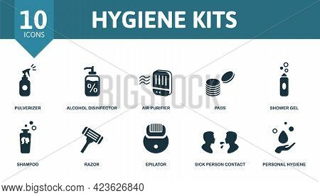 Hygiene Kits Icon Set. Contains Editable Icons Personal Hygiene Theme Such As Pulverizer, Air Purifi