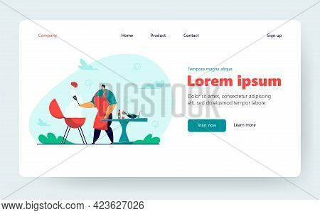 Cartoon Man Cooking Meat Steak, Doing Bbq Outdoor. Flat Vector Illustration. Person Frying Or Grilli