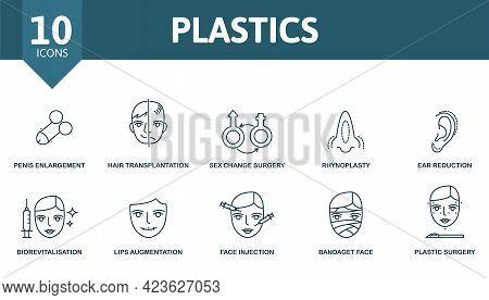 Plastics Icon Set. Contains Editable Icons Plastic Surgery Theme Such As Penis Enlargement, Sex Chan