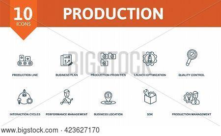 Production Icon Set. Contains Editable Icons Production Management Theme Such As Production Line, Pr