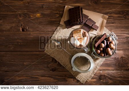 Delicious Chocolate Smoothie With Marshmallows On Dark Table
