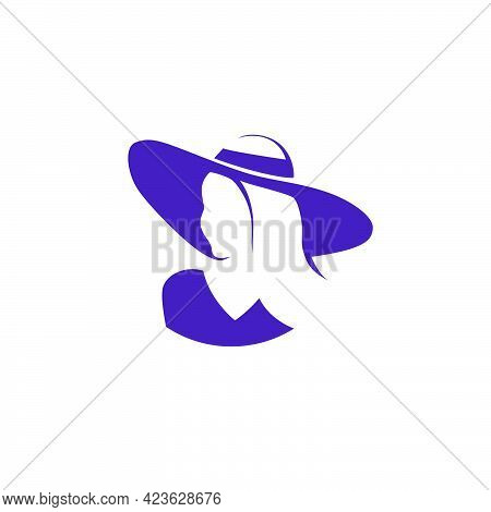 Beautiful Young Lady In Hat Portrait Isolated. Awesome Model Head Hand Drawn Silhouette. Vector Flat